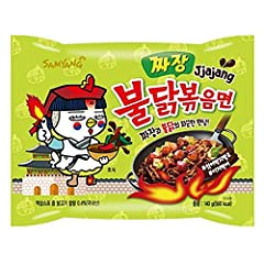 Samyang Buldak Spicy Chicken Roasted Noodles Jjajang Flavor 4.94 Oz x 5 Pack Halal 삼양 불닭 짜장 볶음면 (140 g) 5 팩