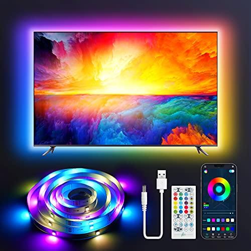 Retroilluminazione LED 2 Metri per TV, Tasmor Striscia LED USB con RGB+IC, Telecomando e Controllo APP, 213 Modalità 16 Milioni Luci LED Colori DIY per Televisore e Monitor da 32-55 Pollici