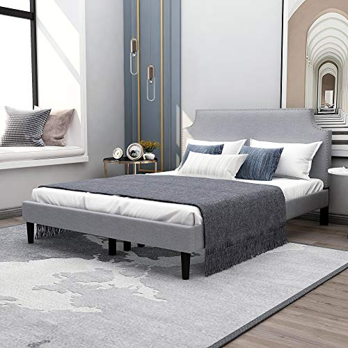 Upholstered Queen Size Platform Bed with Tufted Headboard,Strong Wood Slat Support,Mattress Foundation,Light Grey