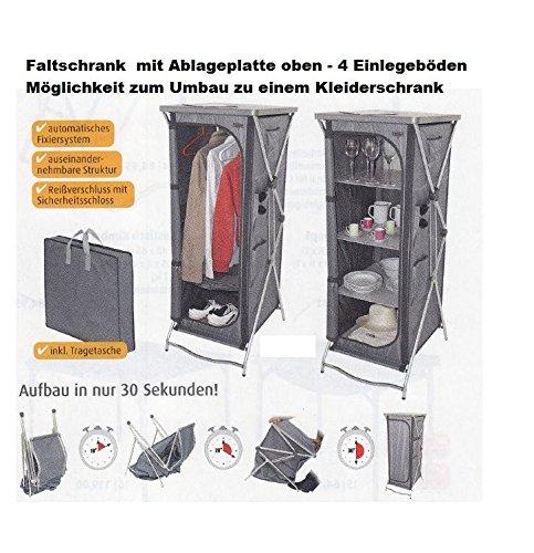 STABIELO - CRESPO - camping hoge kast met 2 legplanken + plank bovenaan - kleur grijs - VERTRIEF door - Holly ® producten STABIELO ® -