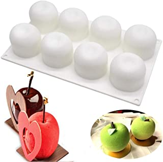SAKOLLA Apple Shape Mousse Silicone Mold, 8-Cavity Non stick Cake Mold/French Dessert/Pastry Baking/Chocolate Mold