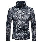 HOSD Jersey de Cuello Alto para Hombre Piel de Serpiente Impreso Casual Slim Fit Knittwear...
