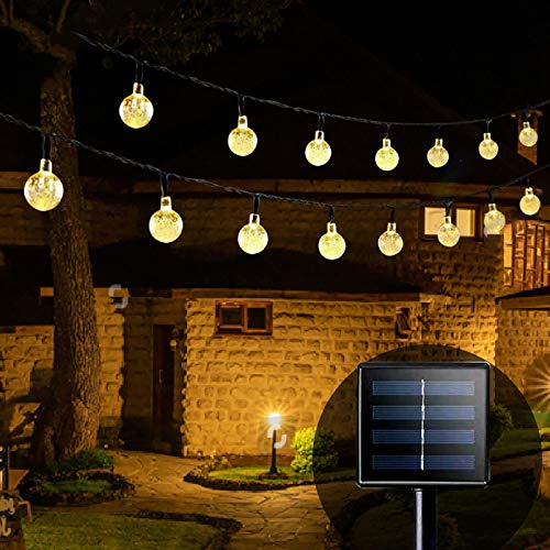Solar Garden Lights, 36FT 60 LED Solar Powered Waterproof Outdoor String Lights Outside Lights Crystal Ball Decoration for Garden Trees, Patio, Summer Party (Warm White)