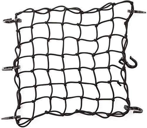 CZC AUTO Gepäcknetz aus Latex, 38 x 38 cm, dehnbar bis 76 x 76 cm, mit 5 x 5 cm kleinem Netz und 6 verstellbaren Kunststoffhaken für Motorrad, Fahrrad, Paddleboard, Quad, Kanu, Moped, ATV