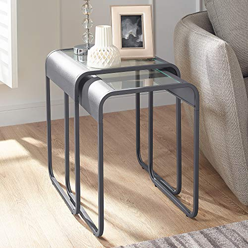 Walker Edison Furniture Company Curved Frame Nesting Side Accent Set Living Room Storage End Table, Gun Metal Grey