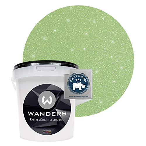 Wanders24® Glimmer-Optik (1 Liter, Silber-Jade) Glitzer Wandfarbe - Wandfarbe Glitzer - abwaschbare Wandfarbe - Glitzerfarbe - Made in Germany