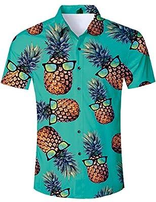 Men's Hawaiian Shirt Button Down 3D Print Summer Short Sleeve Tropical Aloha Dress Shirts