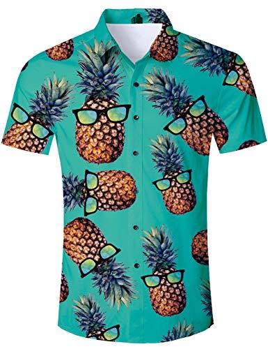 TUONROAD Funky Camisa Hawaiana Señores Pineapple Impreso en 3D Verano Pastel de Piña Manga Corta Shirt Verde L