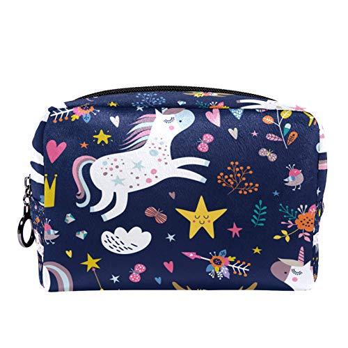 Neceser de Maquillaje para Mujer Bolso Organizador de Kit de Viaje cosmético,Estrellas Unicornio Bebé