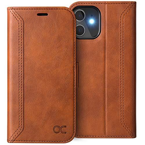 OCASE Retro Hülle iPhone 12 Mini, Handyhülle Tasche PU Leder Flip Cover Brieftasche Etui RFID Schutzhülle Klapphülle Kompatibel für iPhone 12 Mini Braun 5,4 Zoll
