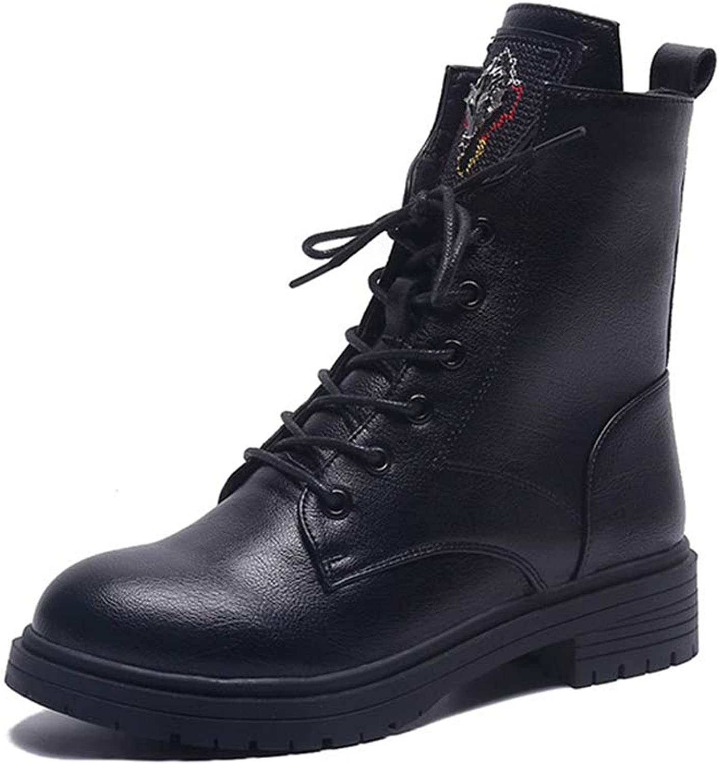 Womens Winter Boots Short Slip On Fold Down Combat Style Snow Booties
