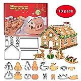 SeWooo Emporte-Pièce Noel 3D, 18 pièces en Acier Inoxydable Biscuit Moule, 3D Noël Emporte-Pièces, DIY Multifonctionnel Inoxydable Moule de Biscuit