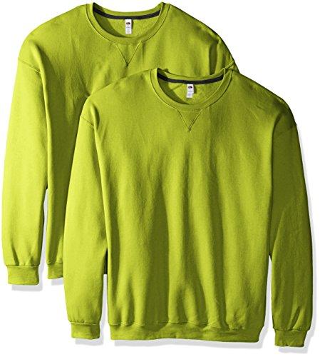 Fruit of the Loom Men's Crew Sweatshirt (2 Pack), Citrus Green, Large