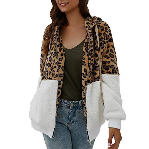 Xiangdanful Damen Plüschjacke Leopard Print Winterjacke Teddy-Fleece Jacke Dicke Warme Cardigan Wolle Mantel Outwear Coat Parka Patchwork Hoodie Trenchcoat Vorne Offen Mantel (M, Weiß)