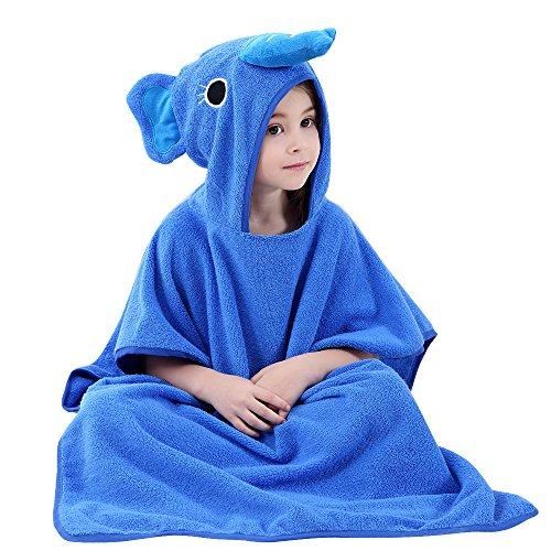 ele ELEOPTION kinderbadjas capuchon poncho strand badhanddoek 70 cm x 140 cm voor kleine jongens en meisjes