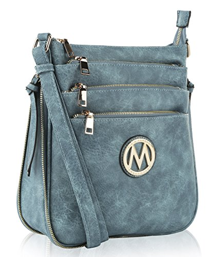MKF Crossbody Bag for Women – PU Leather Expandable Messenger Purse – Designer Pocketbook Handbag Shoulder Strap Danim