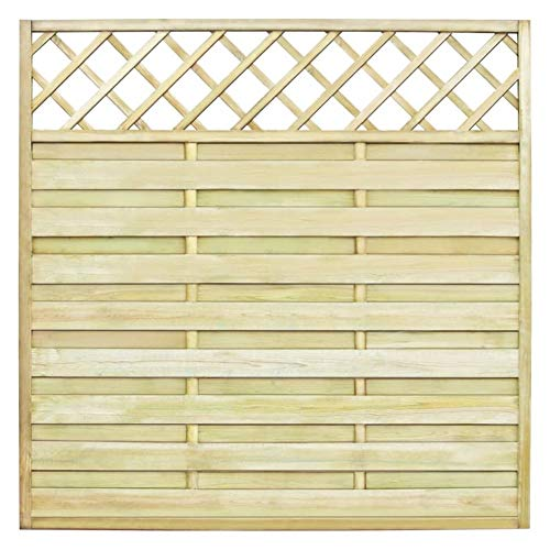 BIGTO Garden Fence Panel with Trellis Wood 180x180 cm,Pinewood, green impregnated,very sturdy, durable, and rot resistant,natural product