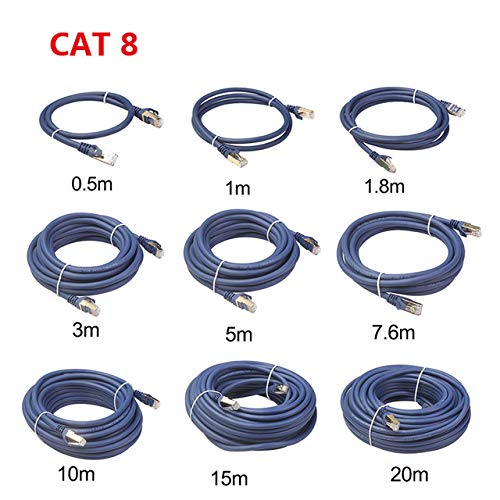 Fijner 1 m / 3 m / 10 m / 15 m / 20 m / 25 m / 30 m Lan-kabel Ethernet-kabel Cat8 Lan-kabel RJ45-netwerk Cat 5-router Internet-patchkabel voor computer, Cat 8-kabel Blauw, 25 m