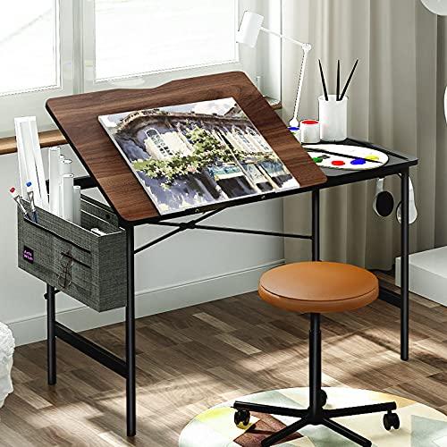 Modern Adjustable Drafting Table Drawing Table 47 inch Craft Drawing Desk with Storage Tiltable Tabletop Home Office Desk Writing Desk, Dark Walnut, Artswish