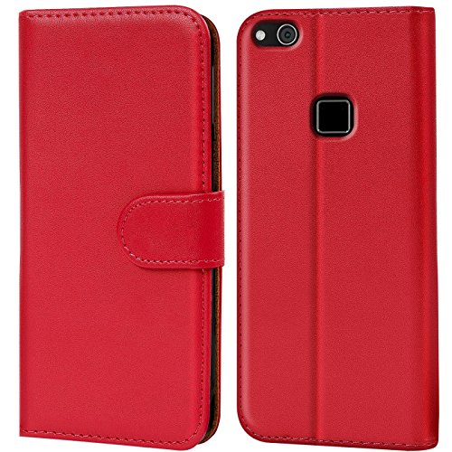 Verco P10 Lite Hülle, Handyhülle für Huawei P10 Lite Tasche PU Leder Flip Hülle Brieftasche - Rot