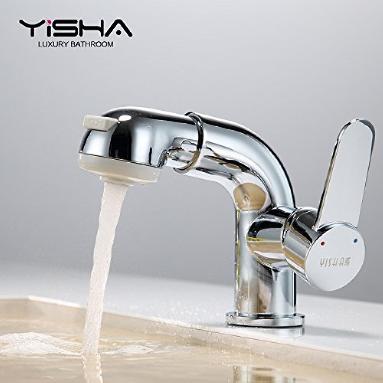 Maifeini Telescopic Washbasin Faucet Single Handle Single Hole Bathroom Lavatory Faucet Shower Hot And Cold Copper