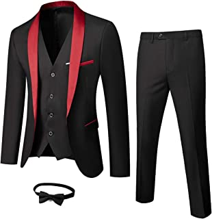 MY'S Mens 3-Piece Suit Shawl Lapel One Button Tuxedo Slim Fit Premium Dinner Jacket Vest Pants & Tie Set