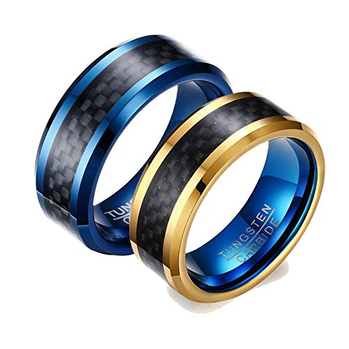 ANAZOZ 2 Stück Damen Herren Verlobungsring Wolfram 8mm Kohlefaser Bicolor Poliert Trauringe Partnerringe Gold Blau Stempel Eheringe mit Kostenlos Gravur Frau:57 (18.1) & Mann:67 (21.3)