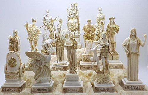 12-er Set Figuren, griechische Olympische Götter, Pantheon, Alabaster, 16 cm