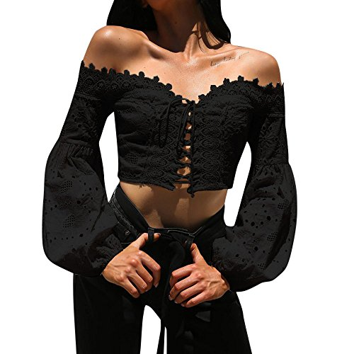 Julhold Blusa para mujer con hombros descubiertos de manga larga sexy encaje hueco camiseta, Negro, S
