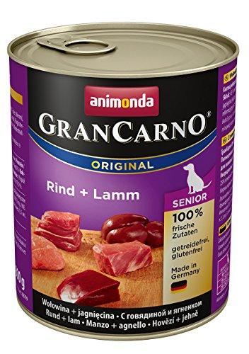 Animonda GranCarno Cibo per cani Senior, cibo umido per cani più grandi da 7 anni, da manzo e agnello, confezione da 6 (6 x 800g)