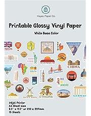 HAYES PAPPER Vinylklistermärke papper för bläckstråleskrivare – 15 glansiga vita vattentäta dekaler pappersark