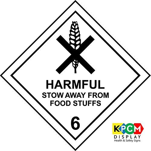 Gevaarlijke stof etiketten Schadelijke stow weg van voedsel spullen veiligheidsbord - Zelfklevende sticker 300mm x 300mm