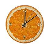 Pealrich Reloj silencioso de pared de 25 x 25 cm, color naranja jugoso, decoración de cocina para el hogar, oficina, escuela, cocina, dormitorio, sala de estar