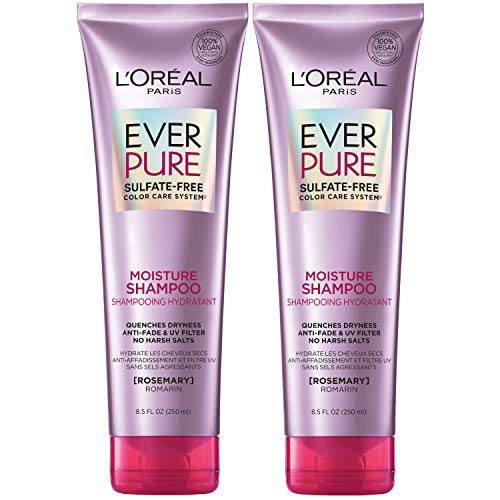 L'Oreal Paris EverPure Moisture Sulfate Free Shampoo for Color-Treated Hair, Rosemary, 2 count (8.5 fl oz each) (Packaging May Vary)