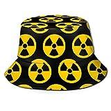 Sombrero de Cubo Sombrero de Cubo de Moda Unisex Packable Transpirable Verano de Viaje Playa Sombrero de Sol Radiación Nuclear Peligro