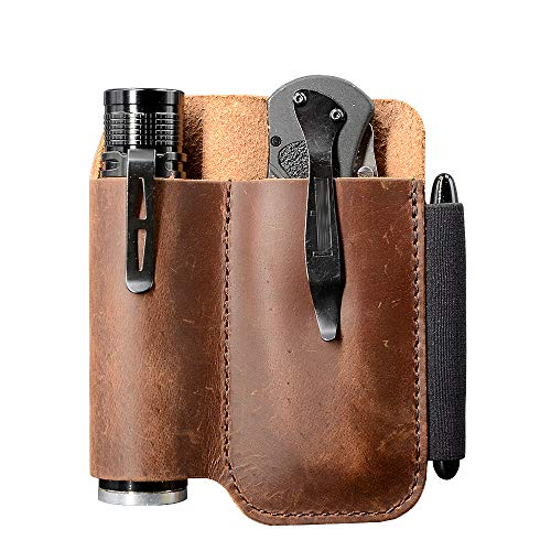 EDC Leather Belt Knife Sheath Organizer for 4.5' Knife, Fit 1.1' Diameter Tactical Flashlight, Belt Tool Pouch, Pocket Slip Pouch, Pen Loop, EDC Holster Essential Carrier, Premium Leather. Chestnut.