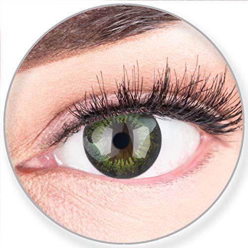 Glamlens SILICONE COMFORT SOFT Grüne Farbige Kontaktlinsen Party Green Grün ohne Stärke - Stark Deckend für Helle Dunkel Braune Schwarze Augen + Behälter - 2 Stück- DIA 15.00-0.00 Dioptrien