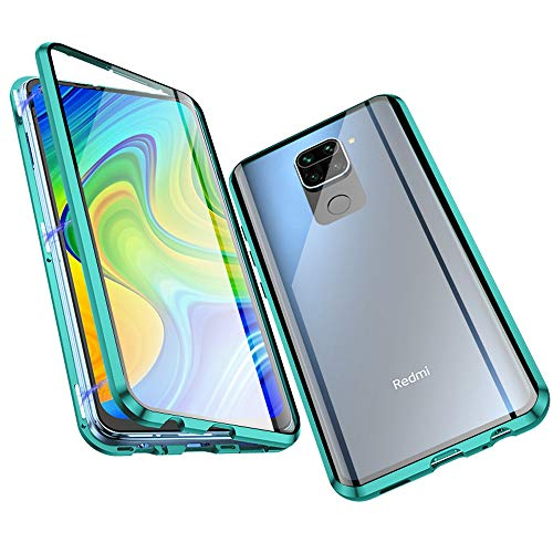Jonwelsy Funda para Xiaomi Redmi Note 9, Adsorción Magnética Parachoques de Metal con 360 Grados Protección Case Cover Transparente Ambos Lados Vidrio Templado Cubierta para Redmi Note 9 (Verde)
