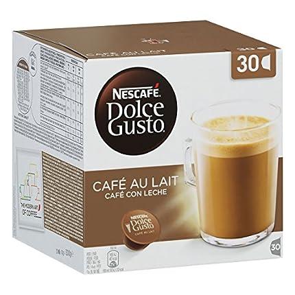 Nescafé - Dolce Gusto - Café Au Lait - 3 paquetes - 30 cápsulas por paquete - 90 cápsulas individuales - Granos de café Robusta intenso - Leche cremosa suave - Aromático