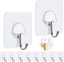 FOTYRIG Adhesive Wall Hooks Wall Hangers Without Nails 15 pounds (Max) 180 Degree Rotating Heavy Duty Reusable Seamless Sc...