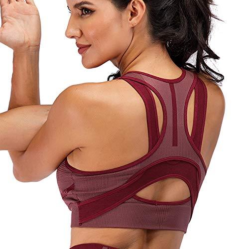 DODOING Soutien-gorge de sport sans coutures pour femme - Soutien des chocs élevé - Pour yoga, gym, entraînement, fitness - Dos nageur, 1 # rouge., XL