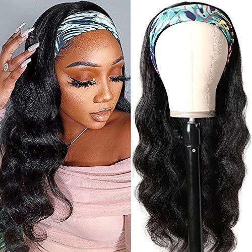 MOMAMOM Perruque De Cheveux Ondulés Brésilienne avec Bandeau Attaché Glueless None Lace Front Wig Cheveux Headband Wig pour Les Femmes Noires 180% Densité 20inch