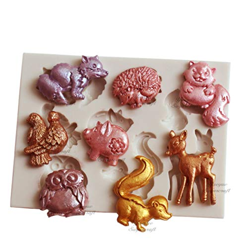 Cute Animals DIY 3D Pig Hedgehog Squirrel Deer Fox Owl Silicone Mold Making Ice Blocks Candy Fondant Chocolates Soaps Cake Decorating Tools