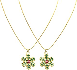 ULTNICE 2 pcs Christmas Snowflake Charms Christmas Necklace Gift Pendant Necklace for Women Girls