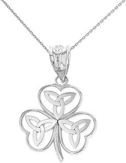 14k White Gold Irish Shamrock Pendant Necklace with Celtic Trinity Knot