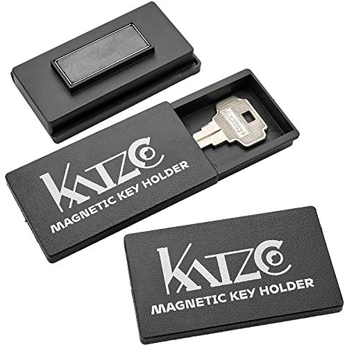 Katzco Magnetic Key Holder - 3 Pack - 1.25 x 2.75 Inches - Rugged Black Plastic Cases with Strong Magnets - for Safe Compartments, Extra Car Keys, House, and More