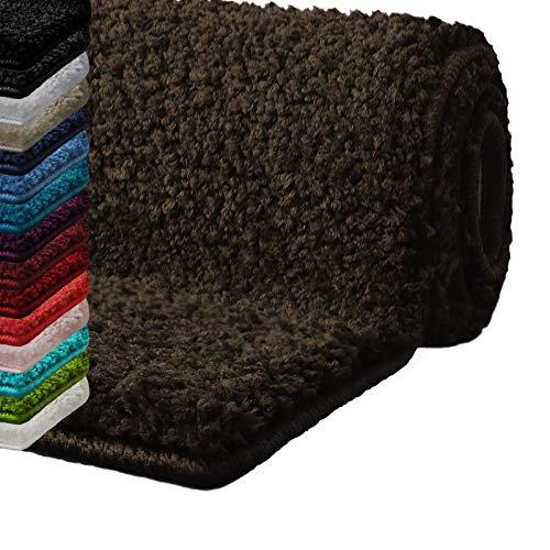 Badematte Hochflor Sky Soft | Weicher, Flauschiger Badezimmerteppich in Shaggy-Optik | Badvorleger rutschfest waschbar | schadstoffgeprüft | 16 Farben in 6 Größen (50x80 cm, braun)