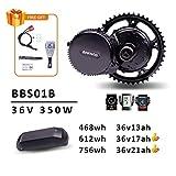 DERUIZ Bafang Kit Bicicleta Electrica BBS01B 250w 350w BBS02B 500w 36v Ebike Motor Motores Electricos para Bicicletas con Batería de Litio