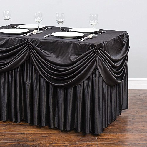 6 ft. Drape Chiffon All-in-1 Tablecloth/Pleated Skirt Black