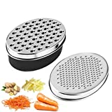 Cheese Grater Lemon Zester with Food Storage Container and Lid, Grinder Grater for Ginger & Vegetables, Box Grater (Black)
